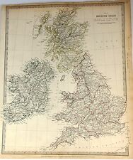 "S.D.U.K. Hand-Colored, Engraved Map -1842- by J & C Walker - ""THE BRITISH ISLES"""