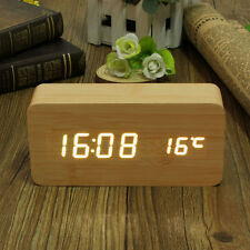 Bamboo Wooden Digital White LED Alarm Modern Clock Calendar Thermometer USB/AAA