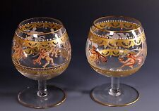 Murano Venetian Salviati Hand Enameled Figural Gold Gilt Small Brandy Snifters D