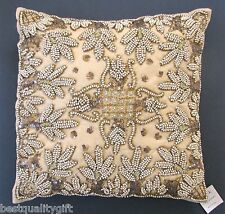 """NEW HAND MADE AMBER BROWN BEAD+SEQUIN LEAF+FLORAL VINTAGE FANCY PILLOW-16"""" x 16"""""""