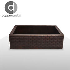 "Hammered Copper Apron Farmhouse Kitchen Sink Brick Design 33""x22"""