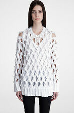 TREND: Alexander Wang £450 White Lattice Bobble Oversized Sweater NWT XS/UK6-10