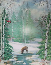 Beautiful Winter Scene ,Deer Cardinals Trees Christmas