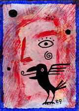 crow speak e9Art ACEO Outsider Art Brut Tribal Shaman Visionary Pagan Painting