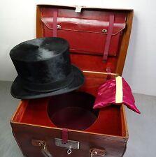 Antiker Hut Zylinderhut Top Hat Dachshaar Zylinder 56,5cm orign. Hutkoffer ~1900