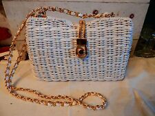 Vintage Mid Century Modern 60's White Wedding Country Wicker Straw Basket Purse