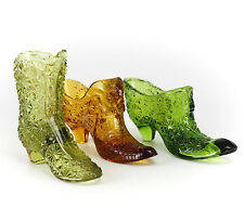 3pc Fenton Miniature Art Glass Shoes in Green, lime green & Amber c1940