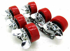 "(Qty-6) 1.5"" Swivel Caster Polyurethane Wheels W/ Brake Lock"