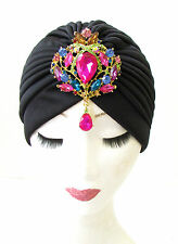 Black Pink Rhinestone Diamante Turban Headpiece 1920s Flapper Vtg Cloche 1163