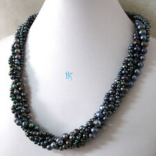 "20"" 3-8mm Peacock 5Row Freshwater Pearl Necklace Strand Jewelry"