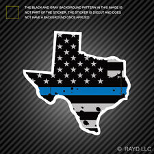 Distressed Thin Blue Line Texas State Shaped Subdued US Flag Sticker police TX