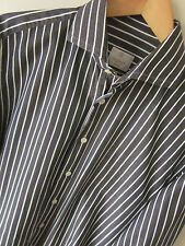 "VAN LAACK SHIRT (16"") ""TERRY"" GREY PINSTRIPE FITTED CUT COTTON S/CUFFS - Excelle"