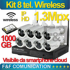 KIT VIDEOSORVEGLIANZA 8 TELECAMERE WIRELESS NVR DVR HD 1.3 HARD DISK 1000 GB