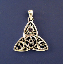 Sterling Silver Celtic Pentacle Triquetra Pendant Triple Goddess Pentagram Wicca