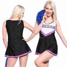 Sexy High School Cheerleader Costume Cheer Girls Uniform Party Outfit w/ Pompoms