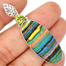 Rainbow Calsilica 925 Sterling Silver Pendant Jewelry SP198286