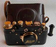 Leica III 1923 Anniversary copy black-gold in leather case (FED copy)