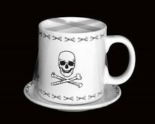 HUGE Heavy Black & White Stoneware Skull & Crossbones Mug & Saucer Plate NEW