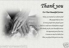 THANK YOU - For our WEDDING SERVICE (laminated gift) vicar/priest/registrar