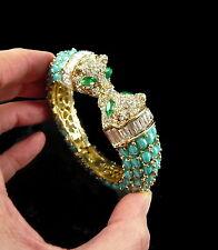 Beau bracelet fantaisie 2 têtes de panthères style designer perles et pierres
