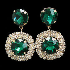 CLIP ON screw GREEN CRYSTAL drop GOLD FASHION EARRINGS non-pierced RHINESTONE