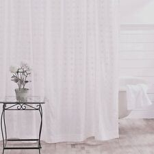 WILLOW WHITE Shower Curtain Embroidered Cotton Cottage Country Chic