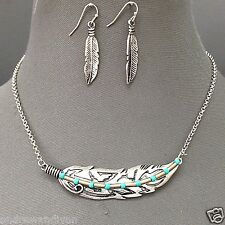 Antique Silver Turquoise Beads Metal Aztec Indie Feather Necklace With Earrings