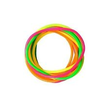 Neon  Gummy Bangles 12 Bands Jelly Wristbands Bracelets 80's  Fancy Dress Girls
