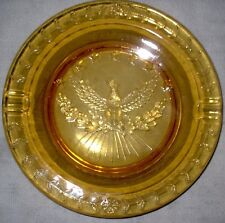 "ANTIQUE 9 1/4"" AMBER GLASS ASHTRAY WITH LIBERTY EAGLE CENTER STARS"