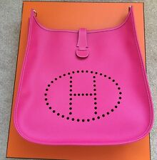 Bnib Hermes Evelyne III 33 Gm Pink Rose Tyrien Fuschia Epsom Crossbody Bag