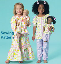 "Kwik Sew K213 PATTERN Girls/18"" Dolls Top,Gown & Pants  Ellie Mae Designs XXS-L"