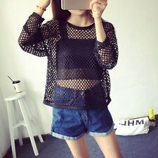 1Pc Hot Long Sleeve Split Slit See-through Blouse Loose Mesh Net Top T-shirt