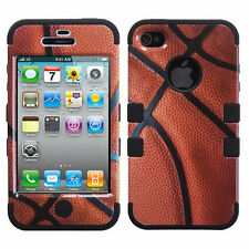 For iPhone 4 4S Rubber IMPACT TUFF HYBRID Case Skin Phone Cover Basketball