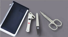Zwilling J.A. Henckels Nail Clipper, File, Scissor 3pc Set with Leather Case