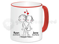 Personalised Love Mug- Back to Back Couple Design- Red Handle- Valentine's Gift