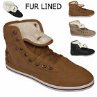 NEW LADIES FLAT HI WOMENS HIGH TOP CASUAL FUR TRAINERS SPORT PUMPS SHOE SIZE 3-8