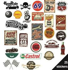 STICKERS SET 25 PEGATINAS AUFKLEBER ADESIVI GARAGE 69 LUCKY CASTROL MONKEY GAS