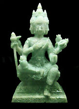 """6"""" HAND-CRAFTED HINDU GOD BRAHMA CARVING STATUE SCULPTURE IN NATURAL GREEN JADE"""