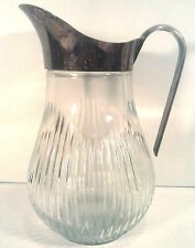 "VINTAGE GLASS CRYSTAL SILVER PLATED PITCHER 9.5"" TALL"