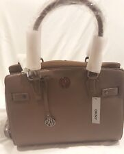 NWT DKNY Donna Karan large desert/sand Goat Leather Satchel Handbag tote $350
