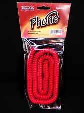 TELEPHONE CORD RED 25 foot COILED Vintage RETRO LOOK modular Handset phone Plug