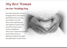 BEST WOMAN on my Wedding Day ( laminated gift) - personalised poem