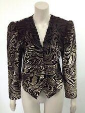 Vintage - Opera - Black/Gold Patterned Sheer Jacket Uk 16 (U018)