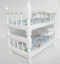 Dollhouse Furniture Bedroom Bunk Beds White Wood Bunkbed