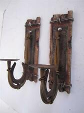 Metal horseshoe rustic candle holder sconce wall plaque western decor lot of 2