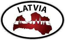 """Latvia Country Europe Oval Car Bumper Window Sticker Decal 6""""X4"""""""