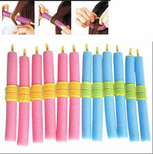 Hot 12X Soft Twist Soft Foam Bendy Hair Rollers Curlers Cling Strip GD