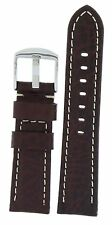 Leather Strap 22MM By Bandenba Swiss Quality Brown Color White Thread Contrast