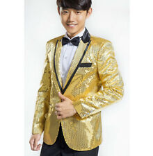 New Men Tuxedo Suit Bling Sequins Jacket One Button Blazer HOT Dance Laped