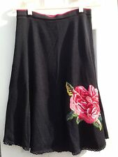 Viola Anthropologie Black Embroidered Pink Red Rose Floral Wool Skirt Sz S